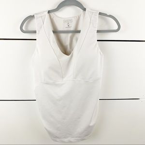 ATHLETA V-Neck Built-in Bra Cup Ruched Tank 38B